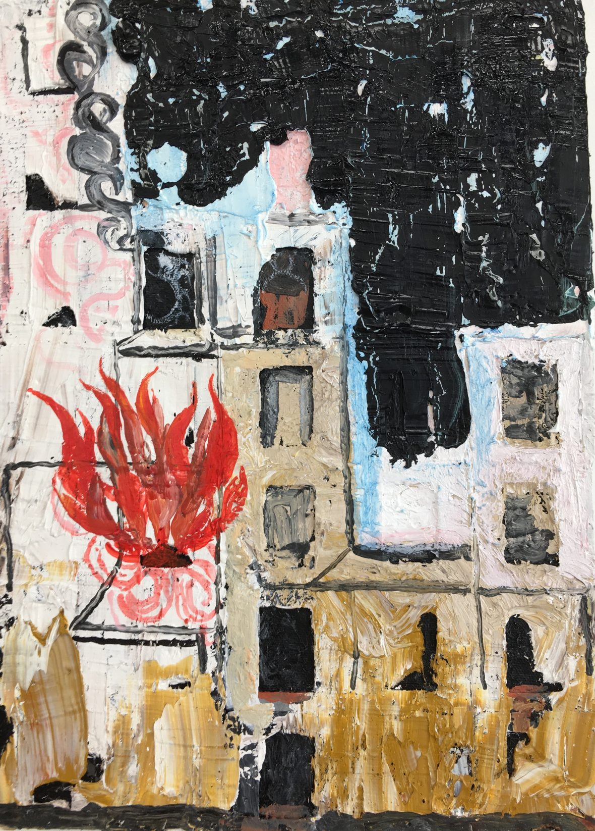 Brinnande hus / Palava talo / Bruning House, 35 x 25 cm,  2018