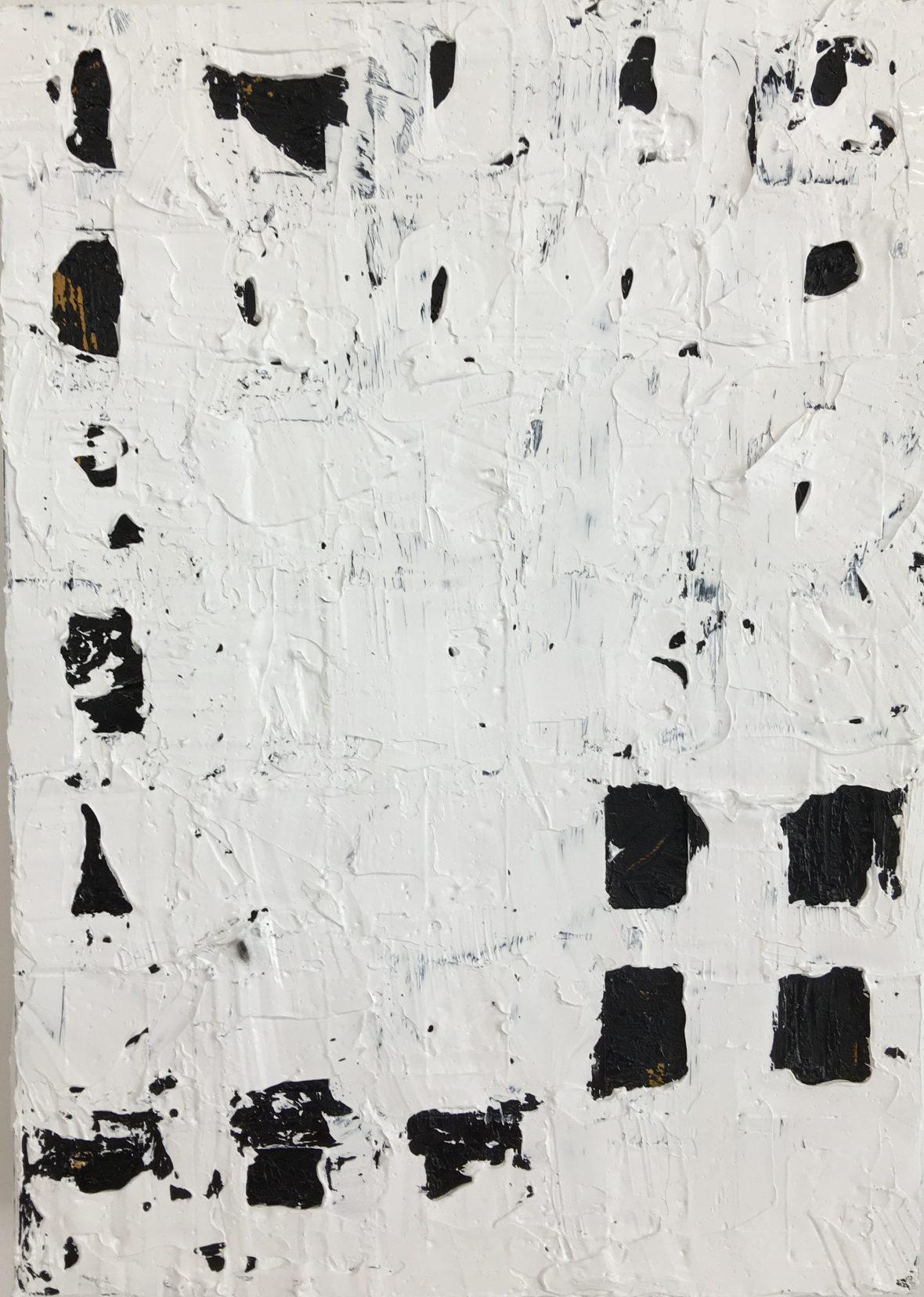 Mistä / Varifrån / From Where, oil on canvas and collage, 35 x 25 cm, 2018