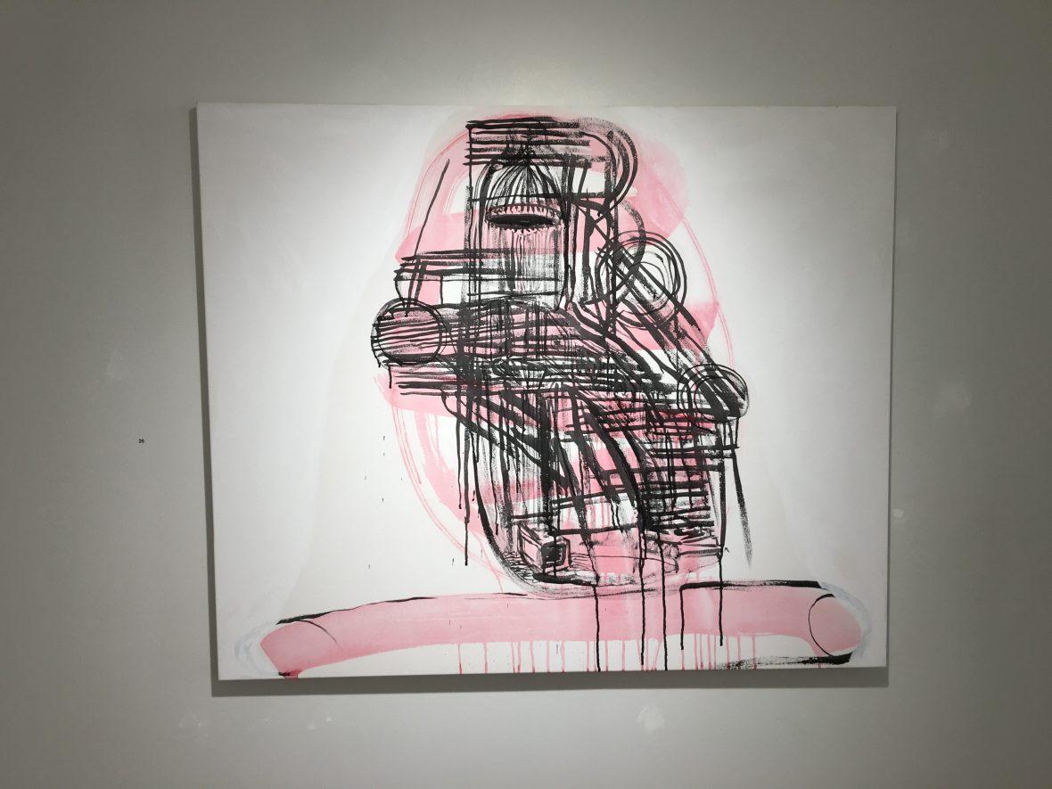 Mitt i talet / Keskellä puhetta /  In the midst of speaking, 100 x 120 cm, 2018