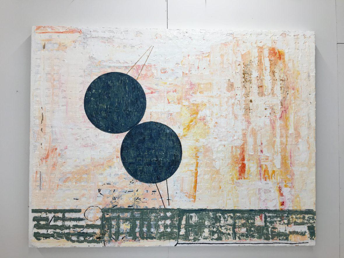 Dialogi, öljyväri ja kollaasi, 145 x 190 cm, 2018