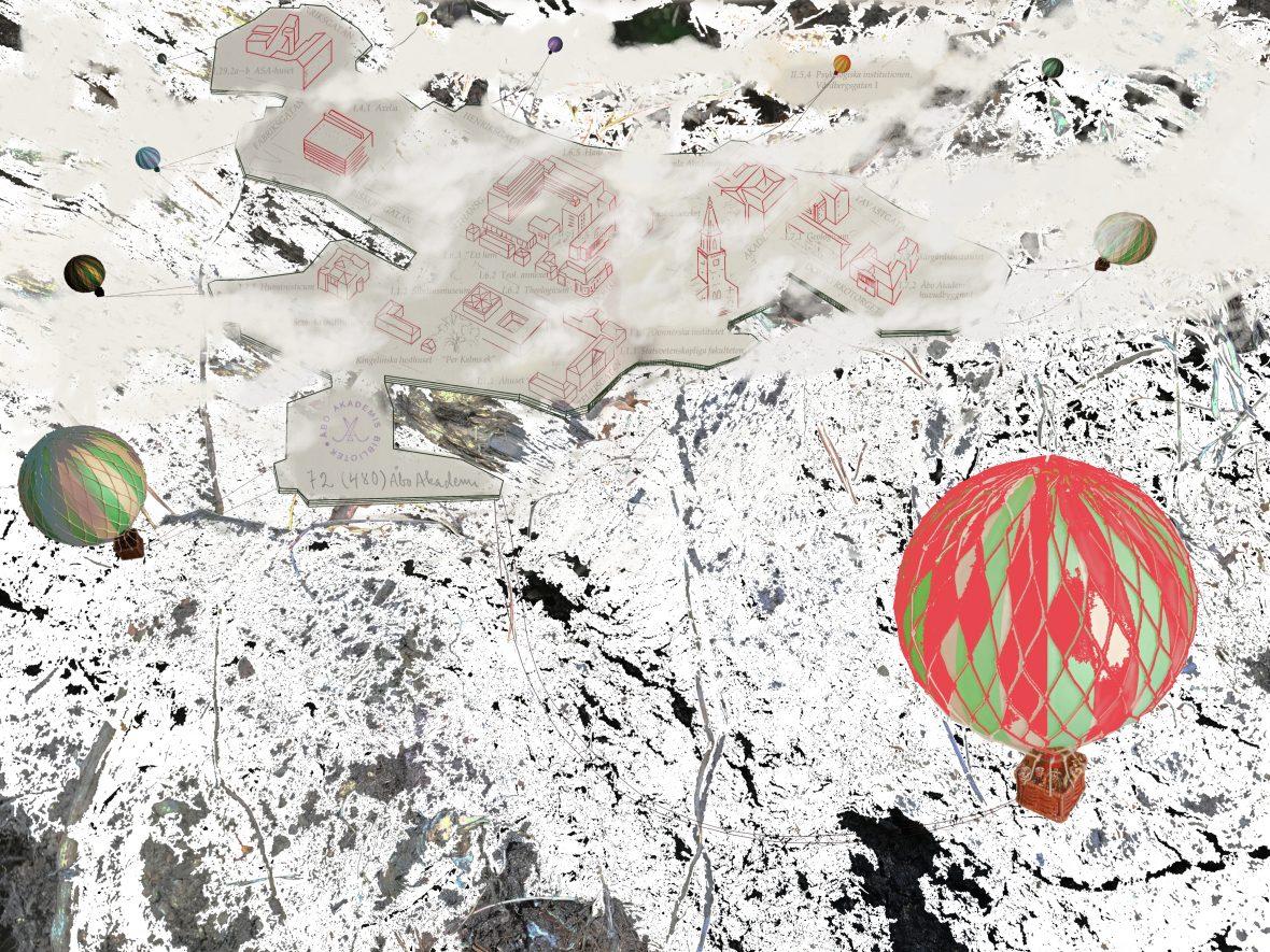 Universitetet i skyn, pigmenttryck 50 x 66,7 cm 2017